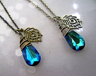 Peacock Bermuda Blue Wire Wrapped Necklace- Your Choice of Antique Brass or Antique Silver