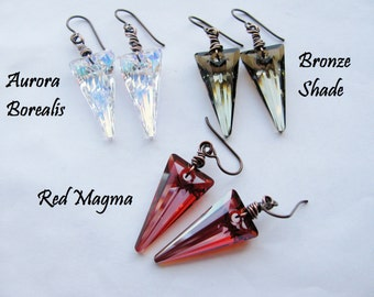 Swarovski Crystal Spike Earrings- Your choice of color