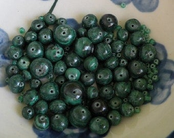 59 malachite & 60 green spacer beads, 119 total, Africa graduated rounds 12mm 10mm 8mm 6mm primitive imperfect handmade i5 clearance sale