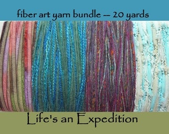 Yarn samples handspun, scrapbooking supplies, fiber art yarn bundle ribbon card, 20 yards teal blue green aqua purple assortment i612