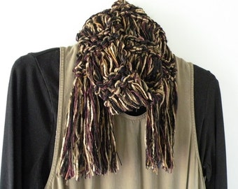 Women's knit scarf, long warm winter soft merino wool SILK, multicolor scarf, black tan brown gold plum beige fashion crochet i761c