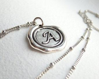 Antique Silver Wax Seal - A - Monogram Necklace