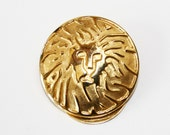 Anne Klein Lion Head Scarf Clip Vintage Accessory Leo Jewelry