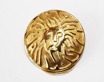 Anne Klein Lion Head Scarf Clip Vintage Accessory Leo Jewelry