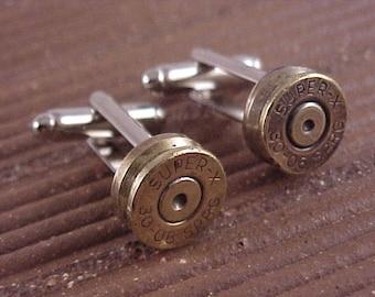 Bullet Cufflinks / Super-X 30-06 Rifle Cuff Links / Wedding Cufflinks / Groomsmen Gift / Gifts For Men / Sportsman gift / Bullet Cuff Links