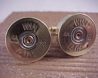 Shotgun Shell Cufflinks / Winchester 12 Gauge Shotgun Cuff Links / Wedding Cufflinks / Groomsmen Gift / Sportsman Gift / Bullet Cufflinks