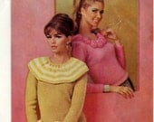 Two Vintage Girlie Frilly Ladies Sweater Knitting Patterns 1964