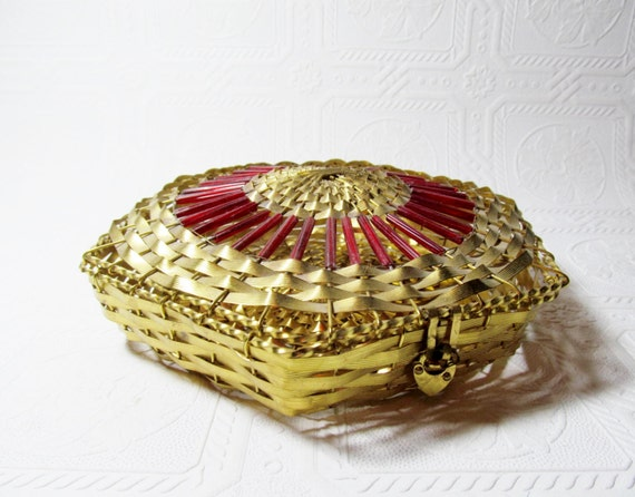 Antique Candy Chocolate Red Gold Basket with Heart lock Tin Woven