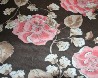 Pink Brown Roses Vintage 70s Fashion Fabric Polyester Lightweight