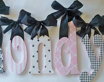 custom glittered nursery letters baby girl nursery decor personalized name wooden hanging letters nursery wall letters