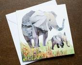 Two Elephants Greetings Card