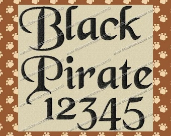 Black Pirate Machine Embroidery Fonts in 3 Sizes