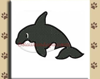 Applique Orca Whale Embroidery Design Includes 3 Sizes
