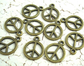 Peace Sign Charms Bronze Tiny Small