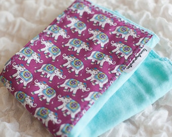 Baby burp cloth - aqua Asian elephants hand dyed burp cloth