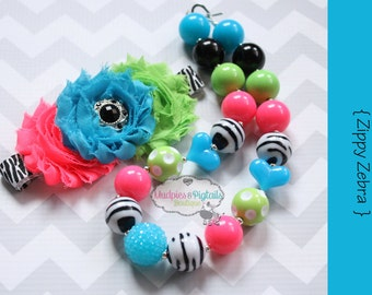 Chunky necklace or headband { Zippy Zebra } Neon Pink, lime, turquoise First Birthday, Carnival Summer Cake Smash photography prop