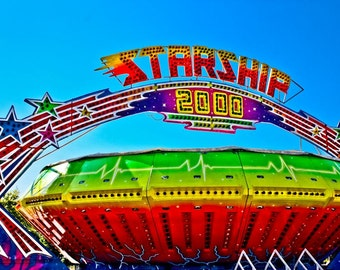 Carnival Gravitron Spin Ride Starship Fine Art Print- Carnival Art, County Fair, Nursery Decor, Home Decor, Children, Baby, Kids