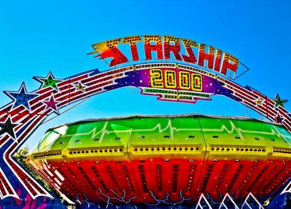Carnival Gravitron Spin Ride Starship Fine Art Print- Carnival Art, County Fair, Nursery Decor, Home Decor, Children, Baby, Kids
