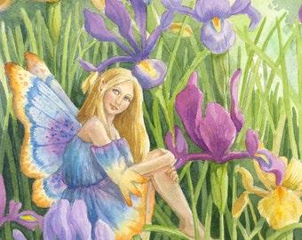 Iris- A Fantasy Watercolor Fairy Print by Ann Gates Fiser