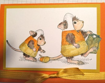 Candy Corn House Mouse Greeting Card