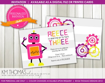 Robot Birthday Invitation : Personalized Printable Girl Birthday Invitation - Girl Robot Theme Party - Item 186