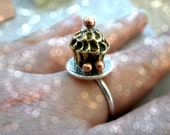 Cupcake ring - Handmade sterling silver ring - Mixed metals ring - Cupcake Jewelry