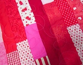 "Baby Size Quilt, Crib Quilt, Red, white, and pink baby quilt, lap quilt, 33""x41"", nursery quilt, machine quilted, toddler quilt"