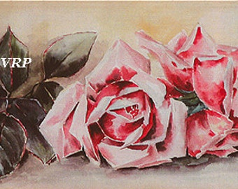 Fresh Pink Roses, Art Print, Half Yard Long, Paul de Longpre, Shabby Chic Decor
