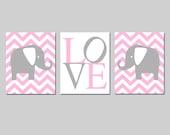 Pink Gray Chevron Elephant Love Baby Girl Nursery Art Trio - Set of Three 11x14 Prints - CHOOSE YOUR COLORS
