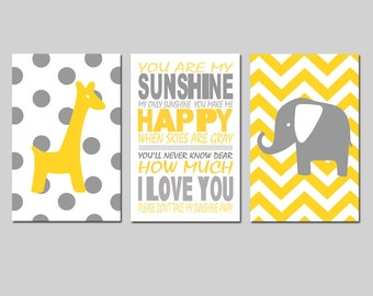Elephant Giraffe Nursery Art You Are My Sunshine Trio - Set of Three 11x17 Prints - Polka Dot and Chevron - Choose Your Colors - Yellow Gray