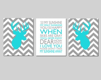 Baby Boy Nursery Art Trio Set of 3 Prints Chevron Deer Nursery Decor You Are My Sunshine - CHOOSE YOUR COLORS - Shown in Aqua, Gray, Orange