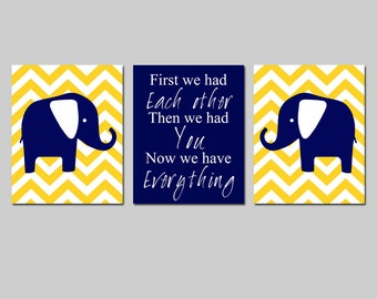 Modern Elephant Nursery Trio - Set of Three 8x10 Prints - First We Had Each Other, Chevron Elephants - CHOOSE YOUR COLORS