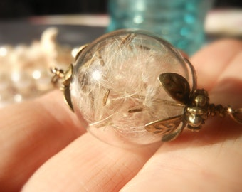 Dandelion Seed Glass Orb Terrarium Necklace Make a Wish Brass Bridesmaids Birthday Jewelry