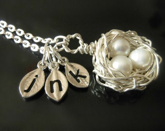 Three EggBird Nest Custom Initial Leaf Charm Monogram Mother Gift Wire Wrapped KarmaBeads