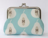 SALE Large Coin Purse Pear in Pale Turquoise - Black Friday Sale LAST ONE!