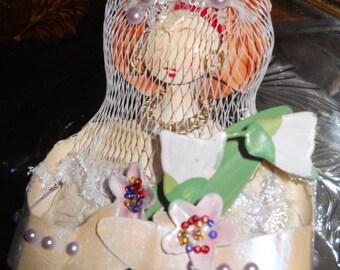 METAL ART Bride DOLL Mixed Media 11 x 4 x 5 Original in PlusSize Mermaid Bridal Gown
