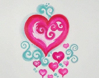 Original HEART painting, heart painting, wold hearts watercolor heart OOAK Watercolor painting
