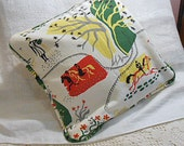 """FRENCH PARK DAY Barkcloth Pillow Cover, Tree Leaves Horses Photographer, Red Yellow Green & White Nubby 1950s Retro Print, Tres Le Parc 15"""""""