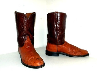 Brown Leather Ostrich  Broken in Lucchese cowboy boots size 9 EE or Cowgirl size 10.5 extra wide width