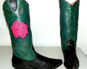 Pink Roses - Green and Black Western Fashion Boots - womens size 9