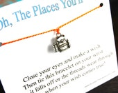 The Places You'll Go - Backpack Charm - Wish Bracelet - Shown In ORANGE JUICE - Over 100 Different Colors Are Also Available