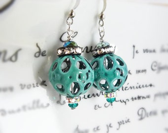 Teal torch fired glass enamel filigree earrings - turquoise lace lanterns