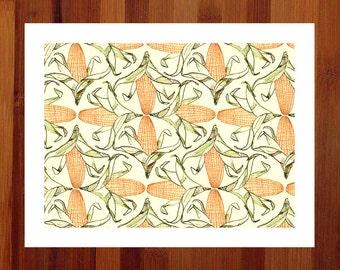 Farmhouse Decor, Prints Illustrations, Corn Art Print, Americana Decor, Yellow Art, 8.5x11 Print, Corn Illustration, Illustration Art Giclee