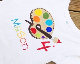 personalized birthday shirt, bright colors paint palette for boy, art party, painting party, paint palette, artist palette, painters palette
