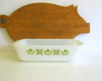 Vintage Fire King - Loaf Pan - Anchor Hocking - Meadow Green Pattern