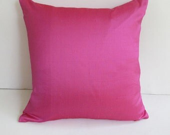 cerise pink dupioni silk throw pillow 16 inch IN STOCK sale 30% off can be custom made