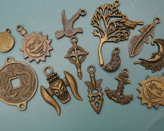 Lot of 13 mixed collection vintage 1980s unused antiqued brontzcolor metal pendants w different motives and sizes for your jewelry prodjects