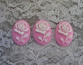 Bright Pink Rose Cameos Set of 3 Resin Cabochons....18X25mm Cabochons 18x25mm Cameos Set of 3