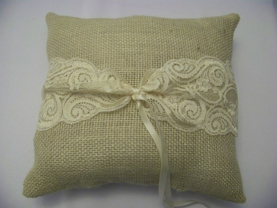 Burlap lace pillow for ring bearer  Wedding all accessories to match