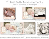 """25 Tri-Folds • Baby Girl's Birth Announcements • """"Glam"""" • Professionally Printed on Card Stock • Envelopes Included"""